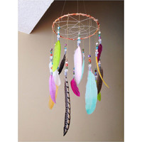 Feather Mobile // Colorful Boho Mobile // Dreamcatcher Mobile