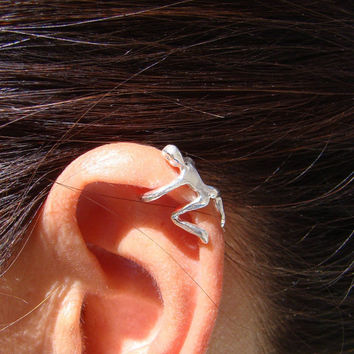 Climbing Man Ear Cuff Sterling Silver, Unique Jewelry, Stocking Stuffer