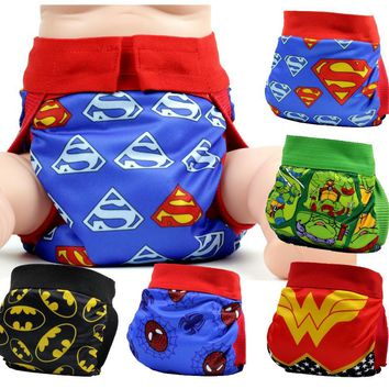 FREE SHIPPING 2017 superhero gladbaby diaper  costume batman superman cloth diaper nappies Adjustable washable