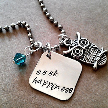 """Hand Stamped """" Seek Happiness"""" Necklace"""