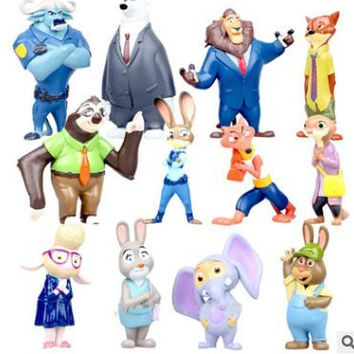 Zootopia Deluxe Figures,Mystery Mini Action Figure Movie Pvc Models 4-8cm, Set of 12 pcs,Nick Fox Judy Rabbit Dolls.