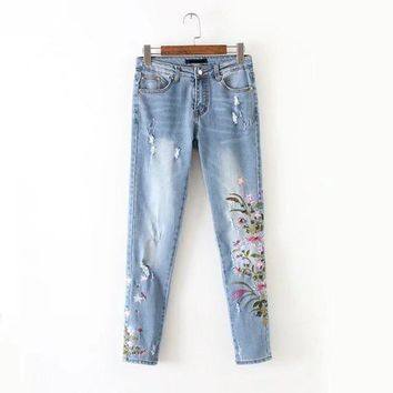 New Boyfriend Jeans Ripped High Waist Dense Denim