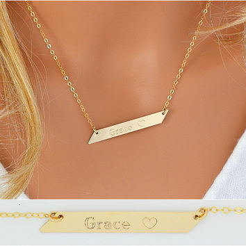 Custom Name Bar Necklace, Gold Bar Necklace, Layering Necklace, Geometric Jewelry, Bar Necklace Gold, Silver, Rose Gold  5x45