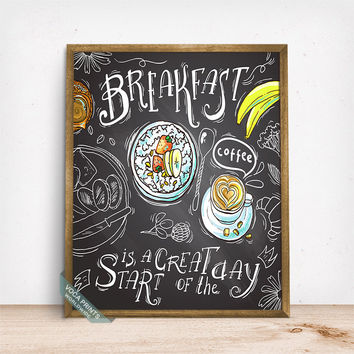 Breakfast Is A Great Start Print, Typography Print, Kitchen Wall Art, Breakfast Bar Art, Food Decor, Restaurant Art, Mothers Day Gift