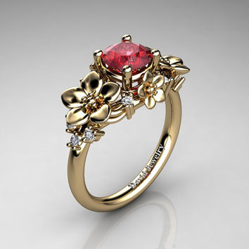 Nature Inspired 14K Yellow Gold 1.0 Ct Ruby Diamond Leaf Vine Unique Floral Engagement Ring R1026-14KYGDR