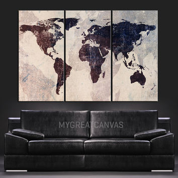 World Map Canvas Print - Contemporary 3 Panel Triptych Abstract Vintage Map on Iron Background Large Wall Art