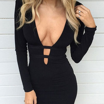 Black Deep V-neck Cut-Out Long Sleeve Bodycon Midi Dress