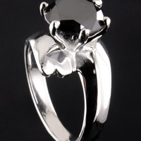1.7 ct Black diamond engagement ring in 925 silver-size as per request