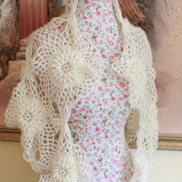 Ready to ship, Crochet Ivory Wedding Shawl Scarf /Neck warmer Wrap/ Lace Cover Up Bridal Shawl Lace Shawl Bridal Wrap Bridal Accessories