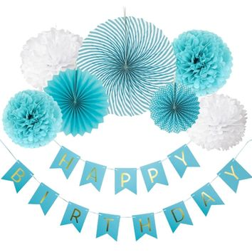 8-Pieces Blue Party Decoration Set-DIY Boys Birthday Party | Birthday Banner Flower Paper Fan Set | First Birthday Party Decoration Set