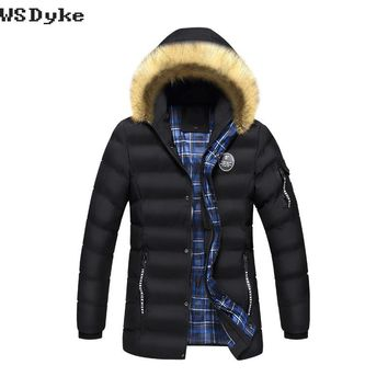 Casual Fur Collar Hooded Medium Long Hombre Thick Warm Men Parka Coat