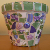 Sweet Violets Pique Assiette Mosaic Flower  Broken China Mosaic