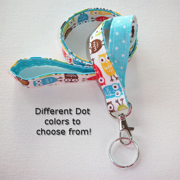 Lanyard  ID Badge Holder - Lobster clasp and key ring - design your own - Urban owls with aqua pin dots -  two toned double sided