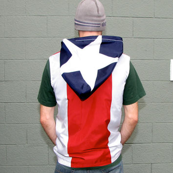 Puerto Rico Hoodie- Mens Jacket- handmade mens hoodie - zippered - mens shirt- mens clothing- jacket - upcycled clothing - windbreaker