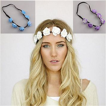 1 pc Party Wedding Bridesmaid Floral Flower Festival Forehead Headband Hair Head Bands Headdress Garland Headwear accessories