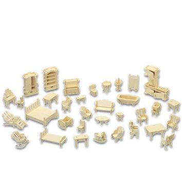 A Kids Toy Of 3d Wooden Puzzle 34 Pcs/set Miniature 1:12 Dollhouse Furniture For Dollsmini Diy Building Model For Children Gift