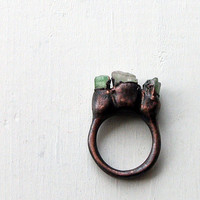 Copper Ring Tourmaline Gem Stone Forest by MidwestAlchemy on Etsy