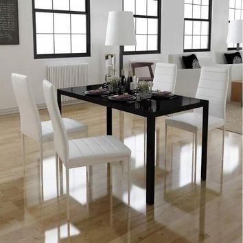 5 Piece Dining Table Set Black And White with Tempered Glass Table Top