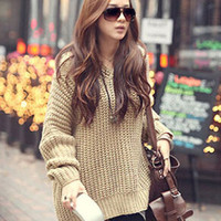 Apricot Knitted Pullover Sweater