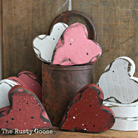Valentines Day, Heart Decor, Valentine Decor, Primitive Valentine, Primitive Heart, Wedding Decor, Love Hearts, Rustic Heart, SET OF 3