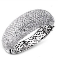 Woman Bangles ,Pave Setting 591 pcs of Cubic Zirconia Round Bracelet ,Lead Free Platinum & 18K Gold Bridal Jewelry