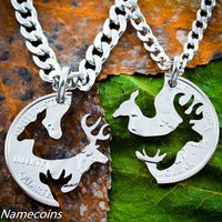 Hunting Necklace, Buck and Doe with child, Baby Spike deer by Namecoins
