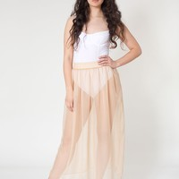 rsa0320 - Chiffon Single-Layer Full Length Skirt