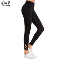 Dotfashion Workout Leggings Fitness Fashion Leggings for Women Cut Out Hight Waist Black Lattice Hem Leggings