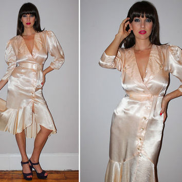 Vintage 80s Satin Dress / DROP WAIST / Mermaid Skirt / Champagne Pink / Deep V / Disco, Hollywood Glam / Fredericks of Hollywood / Xs Small