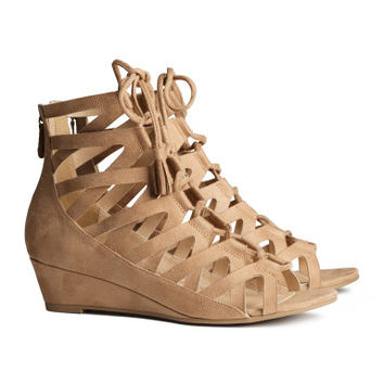 H&M - Lace-up Sandals - Beige - Ladies