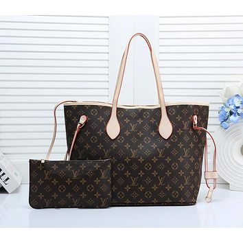 LV 2019 new inside with a small hook children's shopping bag two-piece coffee print