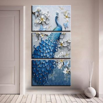 Canvas Paintings Home Decor HD Prints 3 Pieces Blue Peacock Pictures White Orchid Flower Poster Living Room Wall Art Framework