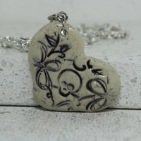 Skull and flower heart pendant Stoneware pottery jewelry Deep Purple item J1