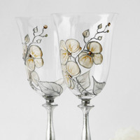 Orchids Wine Glasses Hand Painted set of 2