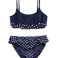 FOREVER 21 GIRLS Darling Dots Two-Piece (Kids) Blue/Cream Small