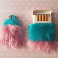 Pastel Goth Cigarette Case, Pink Girly Lighter Set, Pastel Pink Faux Fur, Lighter Fur Case Set, Gift Smoker, Bic Lighter Case