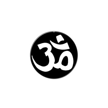 Om Aum Yoga Namaste White On Black Lapel Hat Pin Tie Tack Small Round