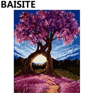 BAISITE Framed Landscape DIY Oil Painting By Numbers Painting&Calligraphy Wall Art Home Decor size 40*50cm E882