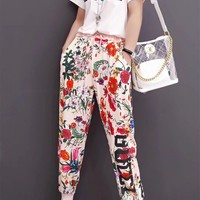 """GUCCI"" Fashion Casual Multicolor Flowers Letter Print Short Sleeve Set Two-Piece Sportswear"