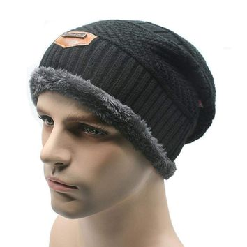 Men's Winter Warm Knitted Beanie Baggy Hats Ski Skull Cap