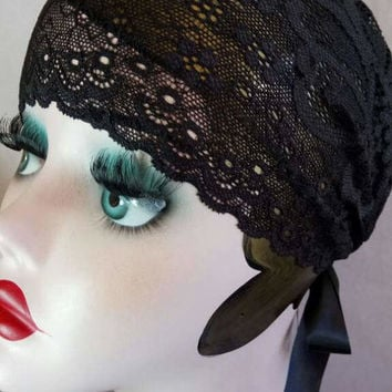 Roaring 20s, art deco, hair accessories, lace, headband, headpiece, bridesmaid, wedding, gift, present, head wrap,  black