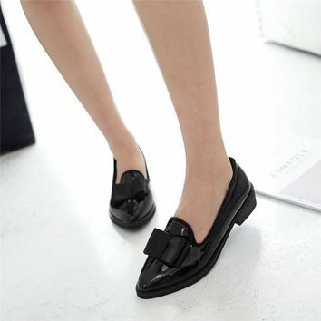 ICIKON3 odetinafashion ladies low heel shoes pointed toe square heel leisure Women pumps bow tie casual shoes big size 32 43