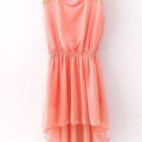 Pink Sequined Shoulder Sleeveless Dress S005