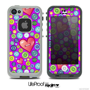 The Hot Pink Vintage Vector Heart Buttons Skin for the iPhone 4 or 5 LifeProof Case