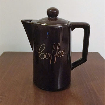 Vintage 1980s Stoneware Dark Brown Coffee Pot with Lid Made in Japan / Glossy Enamel Tea Pot