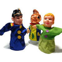 Hand Puppets . Girl, One Eyed Robber,  Police Man . Set of 3 . 1960's Toy . Puppet Theatre Doll . Vintage Story Telling .