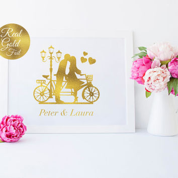 Couple Bikes Names, Wedding Signs, Wedding Decoration, Real Gold Foil Print, Wedding Print, Wedding Wall Decor, Gold Foil Sign, Love Print.