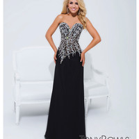 (PRE-ORDER) Tony Bowls 2014 Prom Dresses - Black Rhinestone Beaded Strapless Sheer Bodice Column Gown