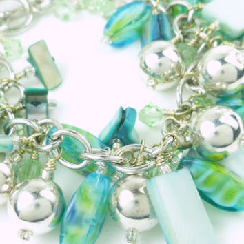 Blue Green Mother of Pearl Swarovski Crystal Silver Beaded Bracelet