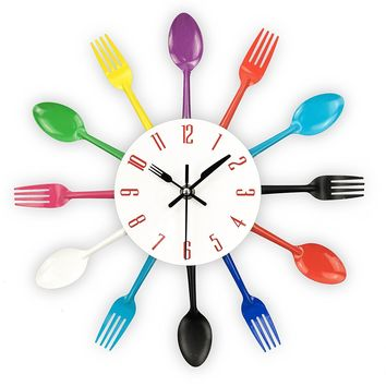 Kitchen Wall Clock, 3D Spoons and Fork, Removable Modern decor.